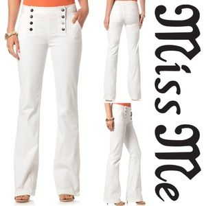Miss Me White Jeans High Rise Wide Double Buttons